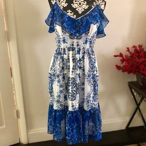 Ruffle Flower dress in blue